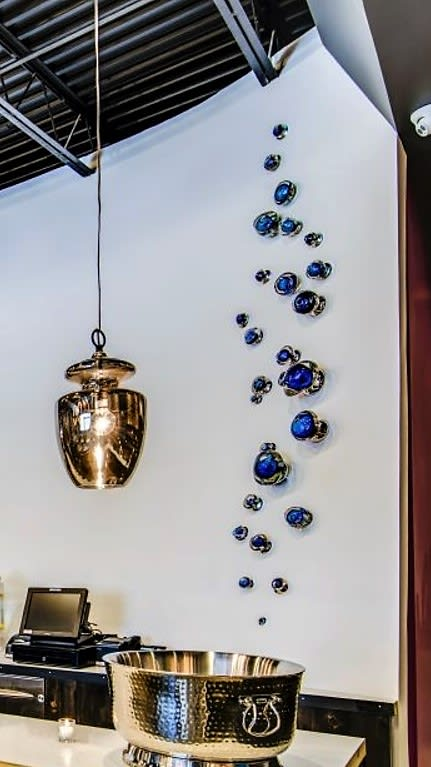 Sculptures by Michael Skura seen at Samui, Brooklyn - Glass Art Wall with Lighting Effects