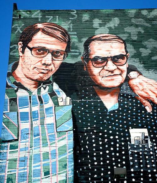 Street Murals by Juan Hector Ponce seen at Wilshire Boulevard, MacArthur Park, Los Angeles - Los Angeles Teachers
