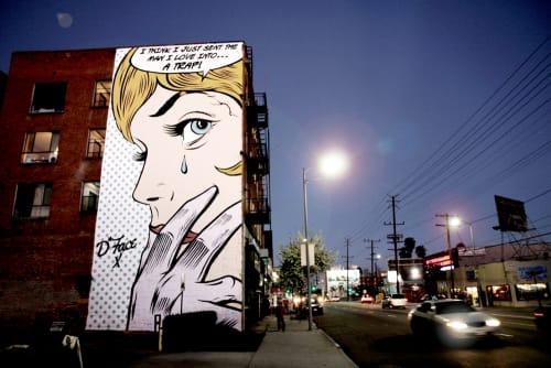 Street Murals by D*Face seen at 5427 Santa Monica Blvd, Los Angeles - Love Trap