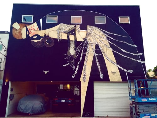 Street Murals by Casey O'Connell seen at Venice Beach, CA, Los Angeles - For The Late Night Bloomers
