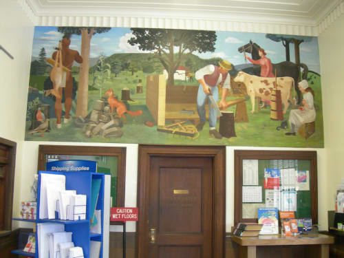 Murals by Musa McKim seen at United States Postal Service, Waverly, NY, Waverly - Spanish Hill and the Early Inhabitants of the Vicinity