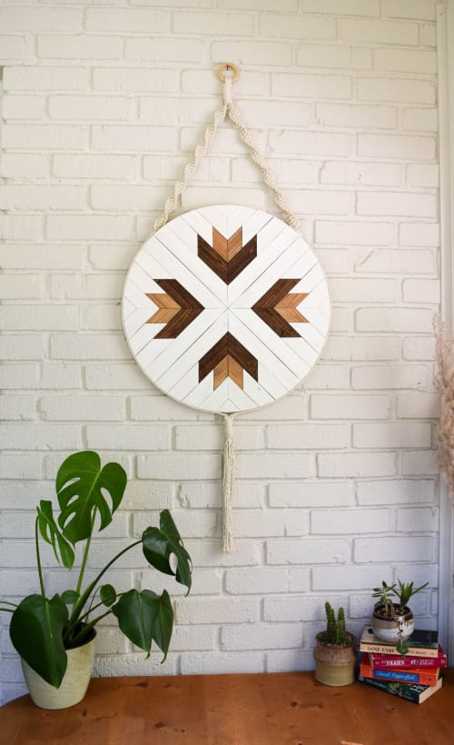 Wall Hangings by Roaming Roots at Private Residence - Adrastea Round Macrame Wood Wall Art