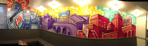 Murals by John Park seen at The Independence - Santa Monica, CA, Santa Monica - Eat, Drink and Be Merry 2015