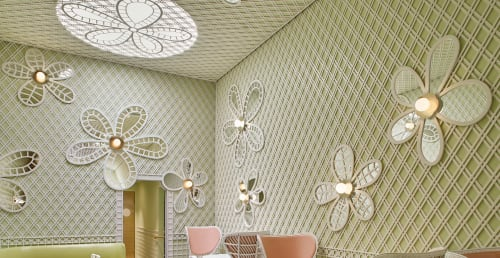 Chairs by India Mahdavi seen at Ladurée Beverly Hills, Beverly Hills - Flower Power