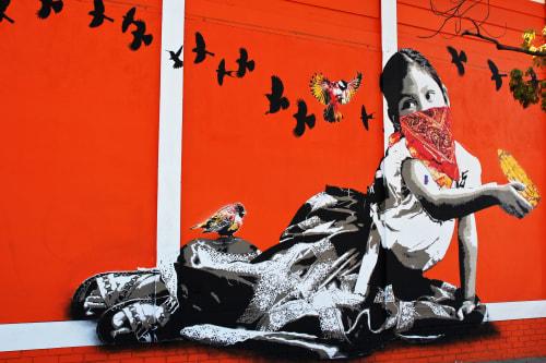 Murals by Lapiztola seen at Guelaguetza, Los Angeles - Maiz Para La Gallina