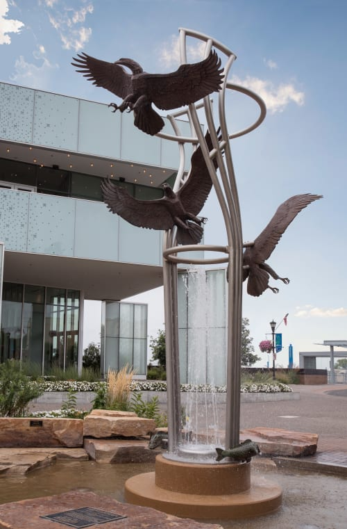 Public Sculptures by Foster Willey seen at Nicollet Commons Park, Burnsville, MN, Burnsville - Ascent Fountain 2016