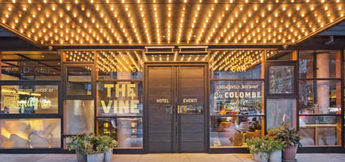 Signage by Ancient Art seen at The Vine, New York - Hotel Entrance Sign