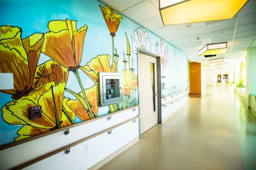 Murals by Dave Muller seen at UCSF Medical Center at Mission Bay, San Francisco - Flowers Mural