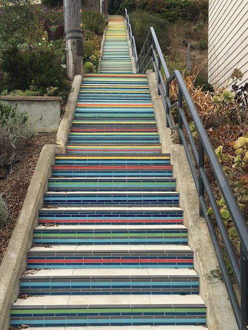 Public Mosaics by Iran Narges seen at Athens Street and Avalon Avenue, San Francisco - Excelsior Hillside Tiled Steps