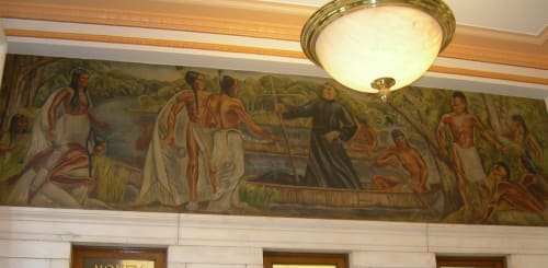 Murals by Caroline S. Rohland seen at United States Postal Service, Fulton, NY, Fulton - Father LeMoyne Trying to Convert the Indians on Pathfinders Island