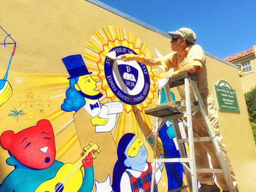 Murals by Stefan Salinas seen at St Philip the Apostle School, San Francisco - St. Philip The Apostle School Mural