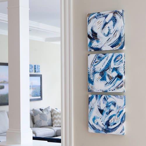 Paintings by Carolyn Mackin seen at Private Residence, Needham - Elegant Waves- set of 3