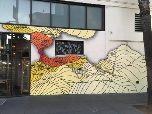 Murals by Strider Patton seen at Monarch SF, San Francisco - Music, Energy, Flow