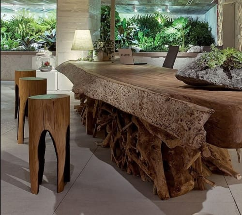 Chairs by Hamacher Kaspar seen at 1 Hotel South Beach, Miami Beach - Ausgebrannt Stools