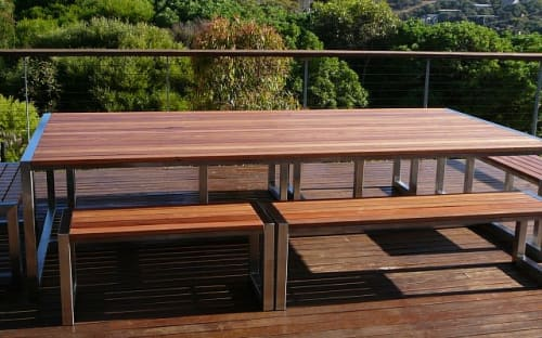 Tables by Andrew Gibbs seen at Private Residence, Fairhaven - Outdoor Table and Benches