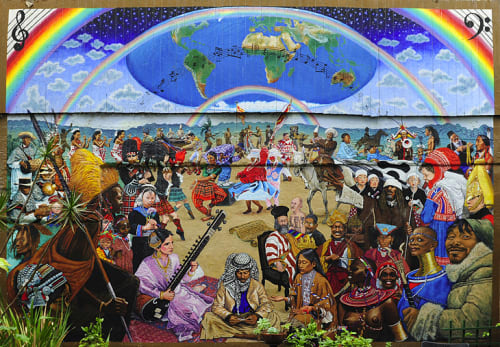 Murals by Kemit Amenophis seen at Cafe International, San Francisco - We The People