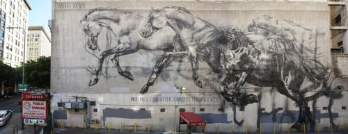 Street Murals by FAITH XLVII seen at Downtown Los Angeles, Los Angeles - Horses Mural