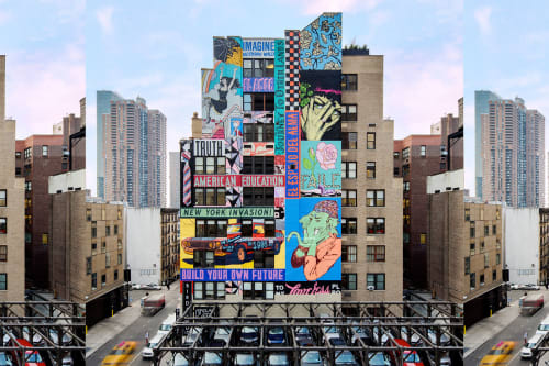 Murals by Faile seen at The Plant, New York - New York Invasion