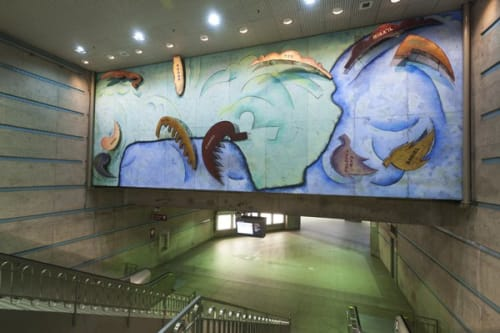 Paintings by Cynthia Carlson seen at Los Angeles Union Station, Los Angeles - L.A.: City of Angels