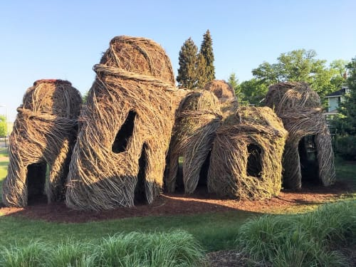Sculptures by Patrick Dougherty seen at Children's Museum of South Dakota, Brookings - Tangle Town