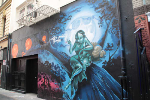 Murals by MEAR ONE  (Kalen Ockerman) seen at Gitane, San Francisco - Mural: The Moon Maiden