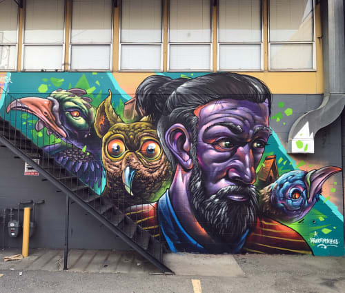 Street Murals by Bruno Smoky seen at Milkcrate Records, Kelowna - Freestyle