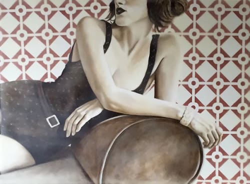 Paintings by Jhina Alvarado seen at Martis Camp Home, Truckee - Chaise Lounge