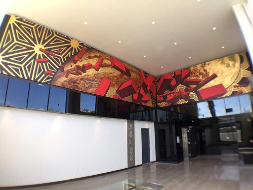 Murals by Kevin Ledo seen at 5800 Harold Apartments, Los Angeles - 5800 Harold