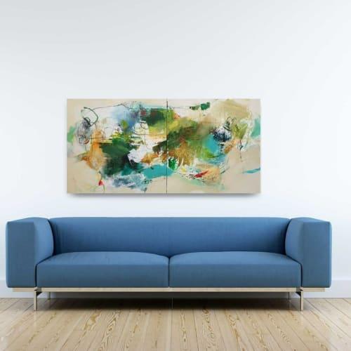 Paintings by Natasha Barnes seen at Private Residence, Annapolis - Blue Green Mixed Media