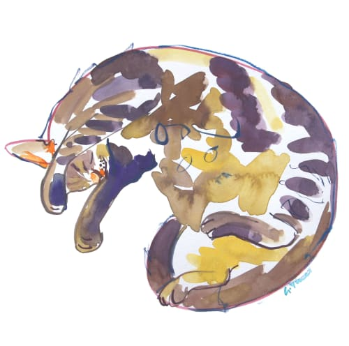 Paintings by Gill Vines Artist seen at Private Residence, Lincoln - Curled up Cat