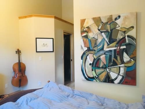 Paintings by Katie Lois Leahul seen at Private Residence, Canmore - Cuddle Bikes 2