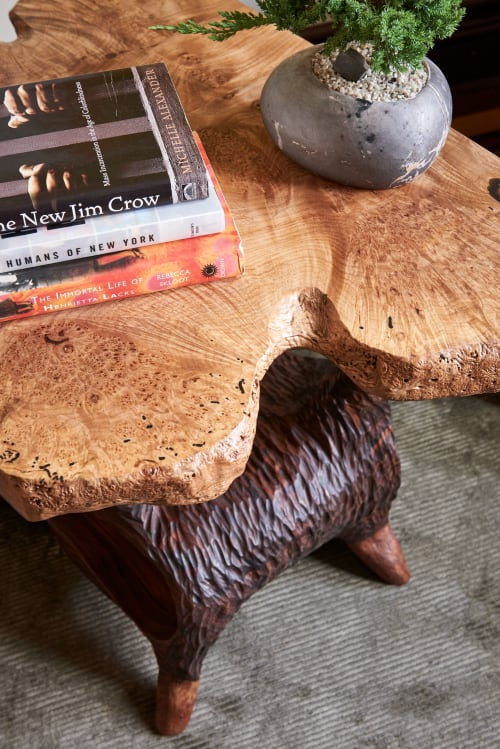 Tables by Keep Furniture seen at Private Residence, Brooklyn - Big Leaf Maple Burl Tables
