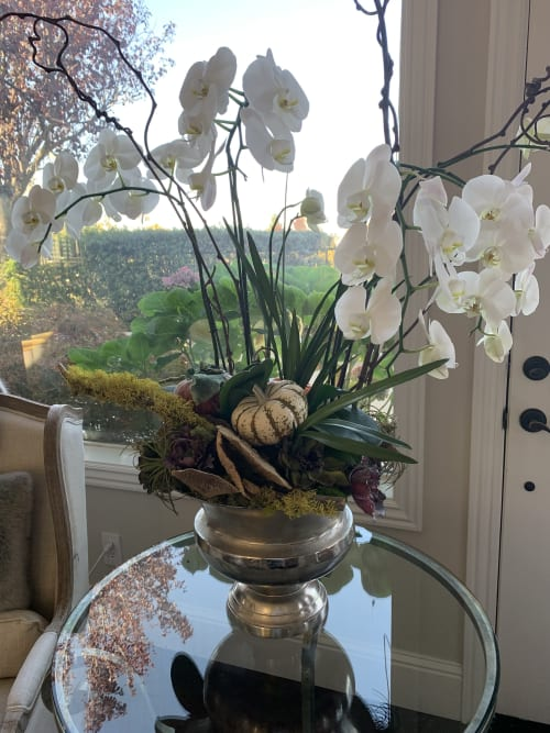Floral Arrangements by Fleurina Designs seen at Private Residence, Los Gatos - Grand orchid and succulent arrangements