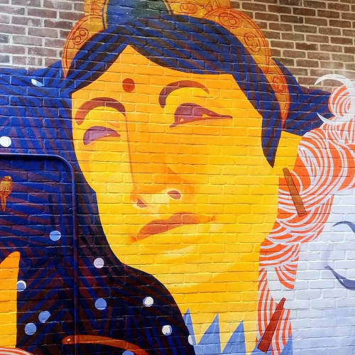 Murals by Emily Herr (HerrSuite) seen at Be Here Now Yoga Healing & Wellness, Washington - Shiva and Shakti (Parvati)