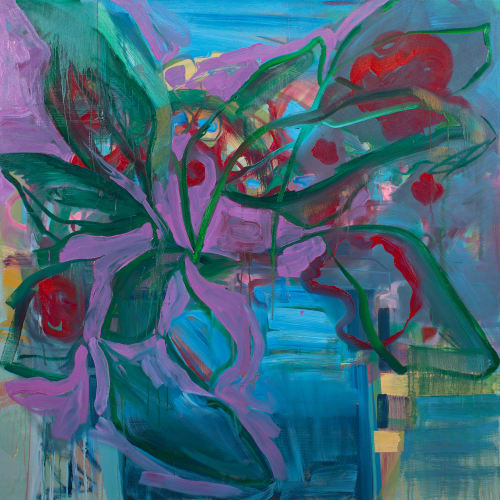 Paintings by Pamela Staker seen at The Bridgeport Art Center, Chicago - Abstract Study (potted plant no.3)