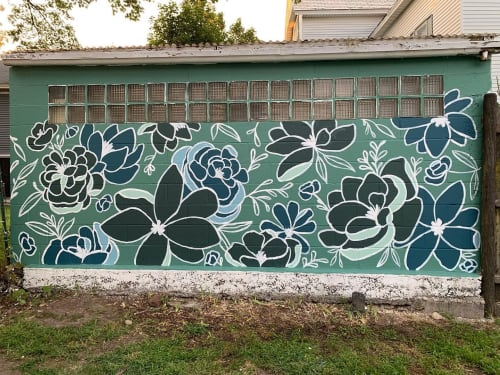 Murals by RebLetters seen at Private Residence, Leominster - Flower Garden