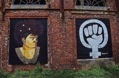 Street Murals by AGONZA seen at Weybosset Street, Providence - Dear Urban Women