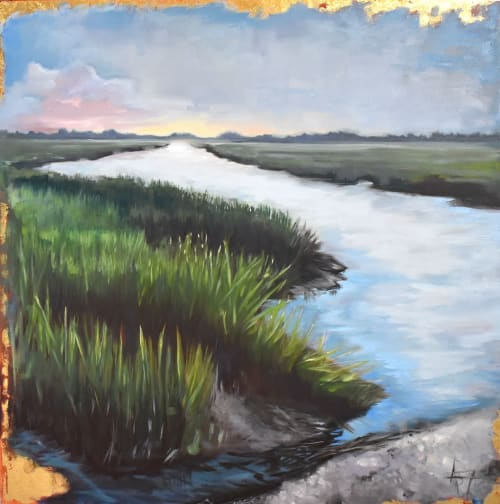 Paintings by Andie Paradis Freeman seen at Hagood Homes at St. James Plantation, Southport - Coming Home