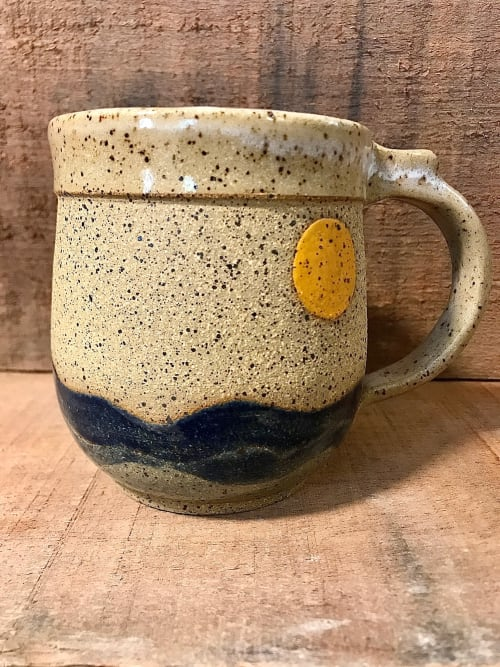 Cups by Honey Bee Hill Ceramics seen at Private Residence, Warwick - Seascape Mug, handmade stoneware