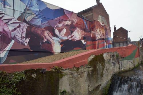 Murals by RATUR (Arthur Maslard) seen at Abbey Montivilliers, Montivilliers - The Gift