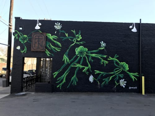 Murals by Mariel Pohlman at Fiction Coffee, Dallas - Staghorn Ferns