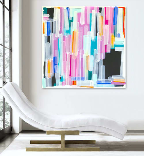 Paintings by Linnea Heide contemporary fine art seen at Private Residence, Montreal - 'iT'S YOUR BiRTHDAY' original abstract painting by Linnea Heide