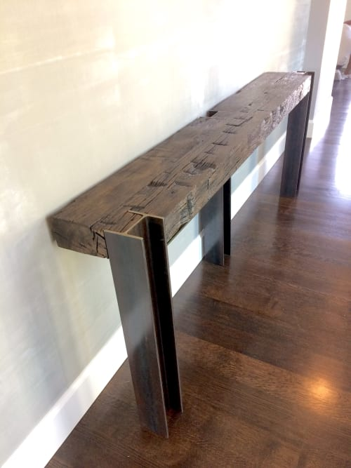 Tables by Stål Timber seen at Private Residence, Dallas - Antique Beam and Ibeam Console