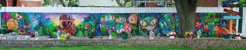 Murals by Earth & Ether Art seen at Private Residence - Alice in Wonderland - Exterior Mural