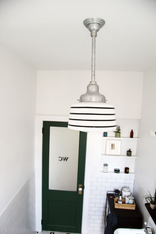 Pendants by Barn Light Electric seen at Private Residence, New York - Drum Schoolhouse Stem Mount Pendant Light