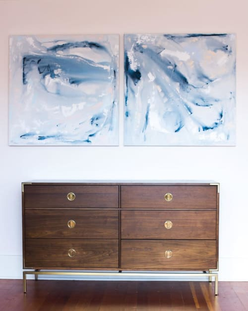 Paintings by Samantha Louise Designs seen at The Dress Theory Bridal Shop, San Diego - Paintings (blue and white Abstract)