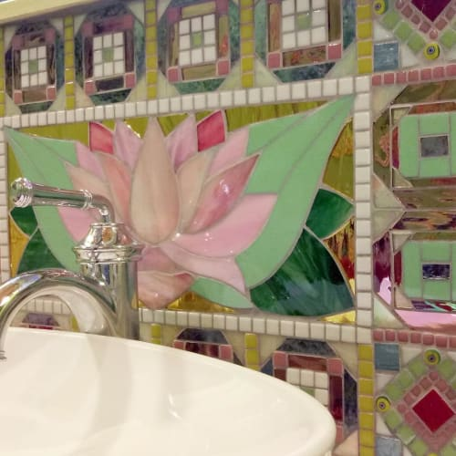 Art & Wall Decor by JK Mosaic, LLC seen at Private Residence, Elma - Lotus Backsplash