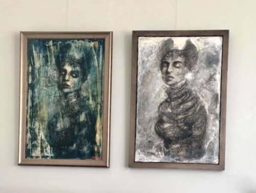 Idol series - Two paintings reunited; 'Myth' & 'Chrysalis' | Paintings by Corinna Button