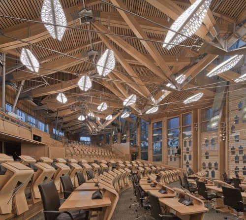 Lighting by KSLD | EFLA Lighting Design seen at Scottish Parliament Building, Edinburgh - Scottish Parliament Debating Chamber LED Luminaire Project