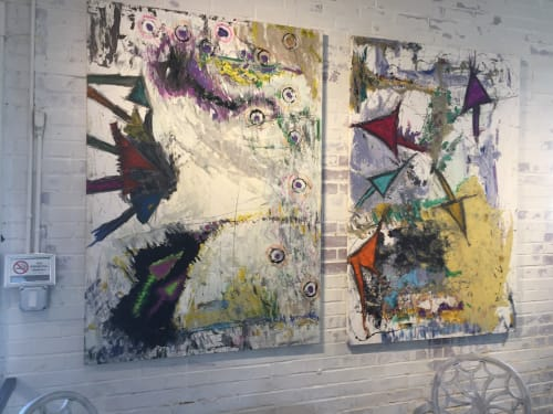 "Paintings by Michael Patterson ""push paint studios"" Charlotte NC USA seen at Charlotte, Charlotte - Arrow Series.  modern abstract large canvas."